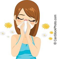 Mujer que sufre de alergia