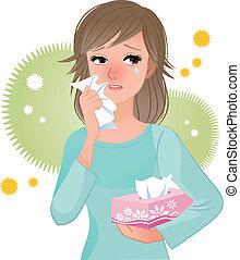 Mujer que sufre de polen alergi