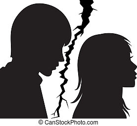 mujer, relación, joven, roto, entre, hombre