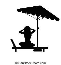 Mujer relajada en la ilustración del sillón de negro