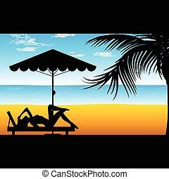 Mujer relajada en la playa ilustración en color