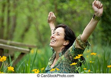 mujer, respiración, naturaleza
