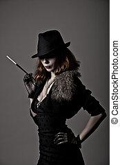 mujer, retro, fedora, tiro, sombrero, gángster