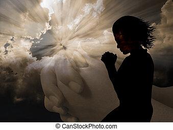 mujer rezar, silueta