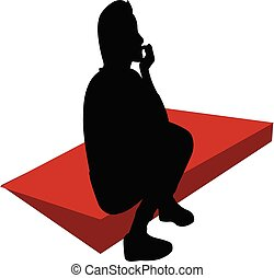 mujer, rojo, vector, estera, sentado, silueta