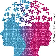 mujer, rompecabezas, mente, pensamiento, caras, problema, hombre