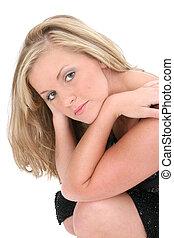 Mujer rubia adolescente