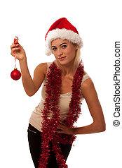 Mujer rubia con sombrero de Santa Claus