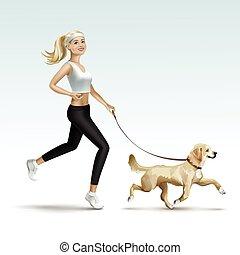 Mujer rubia corriendo con perro