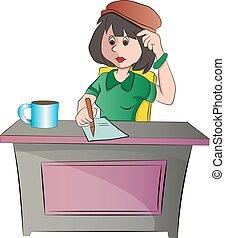 mujer se sentar, ilustración, escritorio, o, secretario