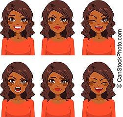Mujer seis expresiones faciales