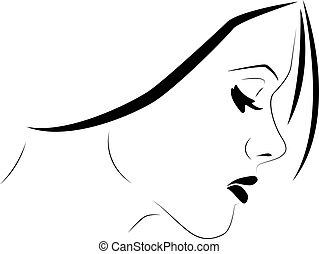 mujer, sensible, perfil