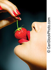 mujer, sensual, sexy, strawberry., labios, comida, rojo