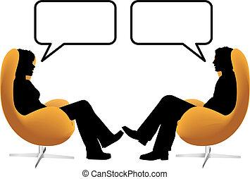 mujer, sentarse, sillas, pareja, huevo, charla, hombre