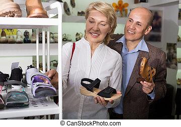 mujer, shoes, cómodo, compra