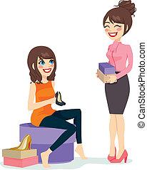 mujer, shoes, escoger