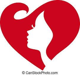 Mujer silueta de corazón rojo