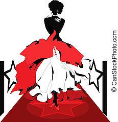 Mujer silueta en una alfombra roja. Serie Isabelle