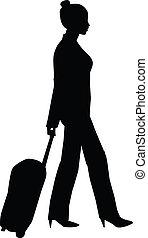 mujer, silueta, viajar
