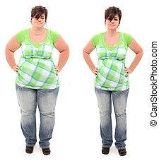 mujer, sobrepeso, antes, 45, viejo, año, después