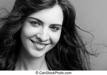 mujer sonriente, hermoso, blanco, negro, joven, retrato