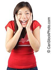 mujer, sorprendido, feliz