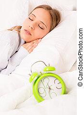 mujer, sueño, hermoso, alarmclock, cama
