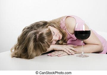 mujer, sueño, joven, alcohólico