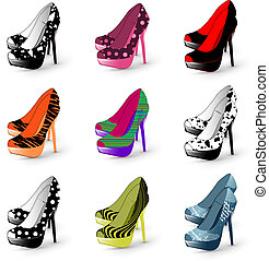 mujer, tacón, shoes, alto