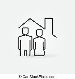 mujer, techo, casa, debajo, hombre, icono, vector, línea, concepto