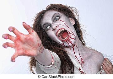 mujer, themed, sangría, horror, psychotic, imagen