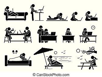 Mujer usando ordenador en diferentes posturas, poses y lugares.