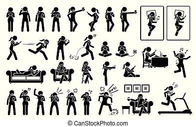 Mujer usando teléfono o teléfono en diferentes poses, acciones, emociones, reacciones y lugares.