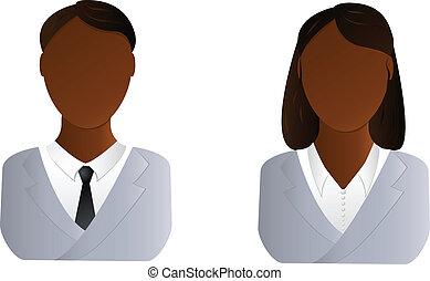 mujer, usuarios, -, dos, hombre africano, icono