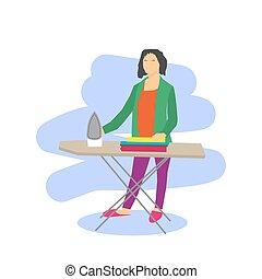 Mujer vector planchando ropa