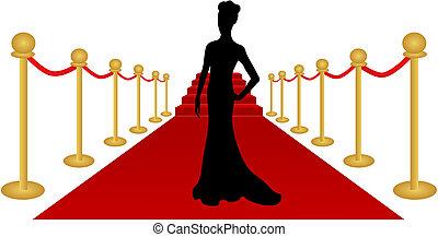 mujer, vector, silueta, alfombra roja