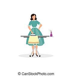 mujer, vestido, vendimia, ropa, dama, -, planchado, quehacer doméstico, caricatura