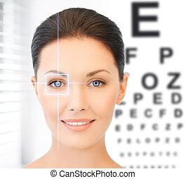 Mujer y gráfico de ojos