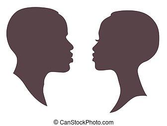 Mujer y hombre africanos se enfrentan a la silueta