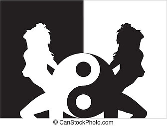 mujer, ying, silueta, yang