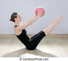 mujer, yoga, gimnasio, pelota, estabilidad, pilates, condición física