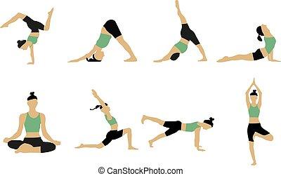 mujer, yoga, poses., colección
