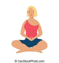 mujer, yoga, practicar