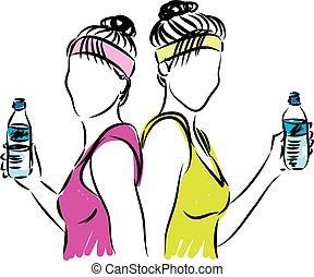 Mujeres acomodadas con una botella de agua
