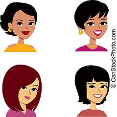 mujeres, caricatura, avatar, multi-ethnic