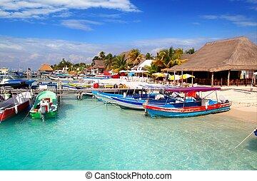 mujeres, colorido, méxico, puerto, isla, muelle, isla, muelle