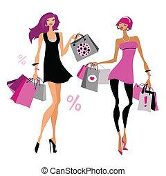 Mujeres con bolsas de compras.