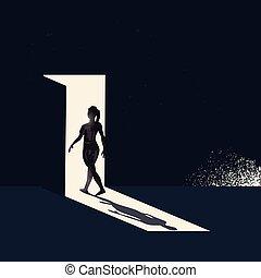 Mujeres cruzando una puerta abierta