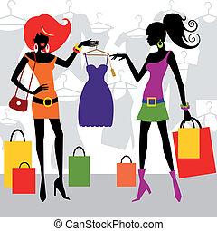 Mujeres de compras de moda