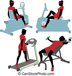 Mujeres en máquinas de ejercicios de gimnasia